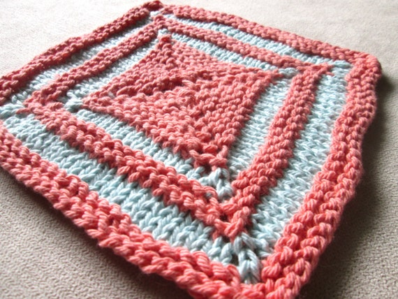 Square Two Color Dishcloth Knitting Pattern Knit Washcloth