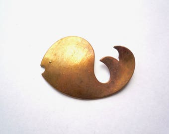Large baby whale blank, 2 solid brass 50 mm whale