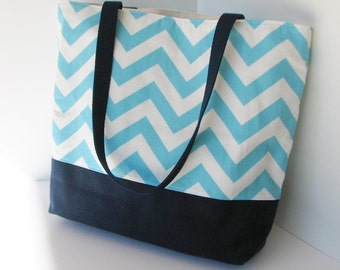 Chevron Tote . Turquoise Navy Blue . Standard size . Chevron beach bag . great bridesmaid gifts teacher tote .  MONOGRAMMING Available