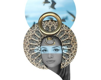 A4 DIGITAL COLLAGE mash-up, montage, digital layers, female face, birds, architectural detail, jewellery element, goddess  'Artemis 2'