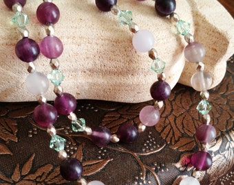 Multi Strand Purple Fluorite Necklace, Swarovski and Gemstone Jewelry, Purple and Green Necklace