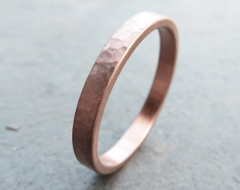 Waterfall Hammered Gold Ring - Wedding Band in Solid 14k Yellow or Rose Gold - Matte or High Polish Textured Finish, Choose 3mm, 4mm, or 5mm
