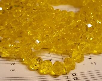 Glass Beads - 30 pcs - 10mm x 7mm - Yellow Glass Beads  - Yellow Beads - Yellow Faceted Beads - Yellow Rondelle bead - 10mm Yellow Beads