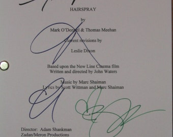 Hairspray Signed Movie Film Screenplay Script Autographs Zac Efron Amanda Bynes Brittany Snow Nikki Blonsky signatures reprint