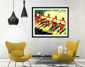 Mom Gift, Retro Water Ski Art, Retro Mom Gift, Wife Gift, Beach Art Gifts for Her, Vintage Art 11x14 16x20 Water Skier Art, Retro Art Gift