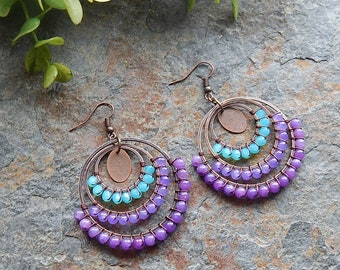Beaded Hoop earrings - wire wrapped hoops - aqua and purple - big gypsy earrings - boho style - colorful - handcrafted bohemian jewelry