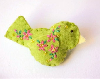 "Handmade Felt Bird Brooch or Pin In Lime Green with Pink, Yellow and Green Embroidered and Beaded Floral Embellishments, 2.75 x 1.5""Bird Pin"