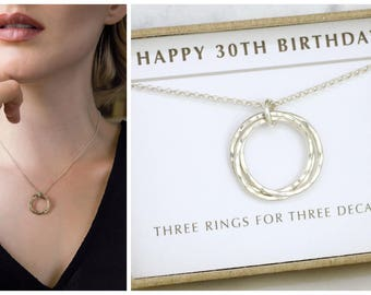 30th birthday gift, graduation gift, 30th birthday gift for daughter, 3 best friend necklace - Lilia