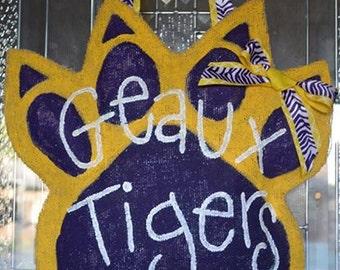 LSU Tiger Paw Burlap Door Hanger