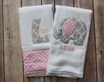 Pink and Grey Elephant Gift Set, Monogrammed Elephant Gift, Baby Girl Burp Cloth Set, Monogrammed Baby Girl Gift, Personalized Baby Girl