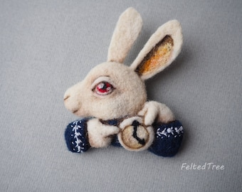 White Rabbit Alice in Wonderland felted wool toy brooch badge handmade
