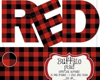 Buffalo plaid flannel uppercase alphabet clip art set - red & black check printable digital letters - instant download