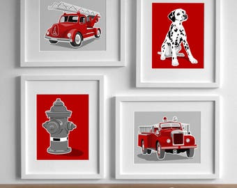 Fireman Nursery Art, Fire Fighter Decor Fire Truck art, vintage fire engine nursery - set of 4 nursery art for boys