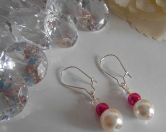 """""""Collection harmony"""" Stud Earrings fuchsia and ivory"""