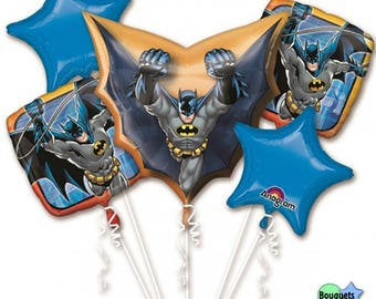 Batman™ - Bat Man - Foil Bouquet Of Balloons - Batman Party Decoration, Batman Party - Batman Birthday