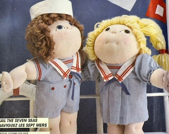 Vintage Sewing Pattern McCall's 2348  Sail The Seven Seas  Complete Uncut  Cabbage Patch Doll Clothes