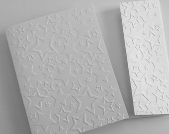Embossed Cards, Greeting Cards Set, Embossed Cards, Blank Cards, Note Card Set, White Cards, Thank You Cards, cards with stars
