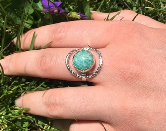 Amazonite ring with a ring