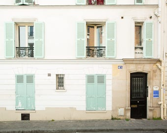 Paris Photography Print - Mint Shutters in Montmartre - Paris Wall Art - Photography Print