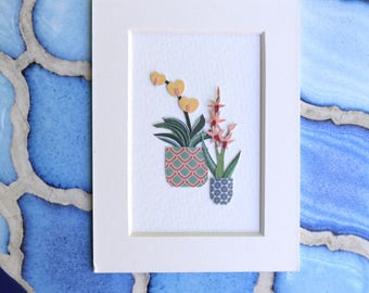 Orchids - Framed Paper Art 4.5in x 3.5in