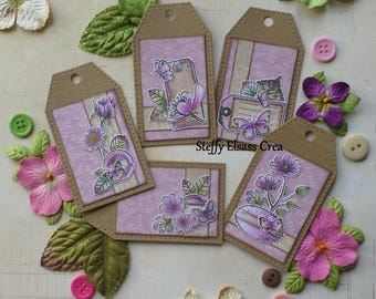 5 labels little flower Butterfly colors pink green brown Nature