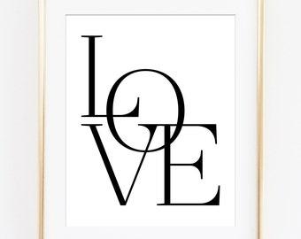 Love Printable, Love Wall Art, Love Print, Typography Poster, Typography Printable, Love Letters, Love Sign, Love Art Print, Printable Art