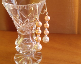 Peach and White Swarovski Crystal Pearls Sterling Silver Earrings