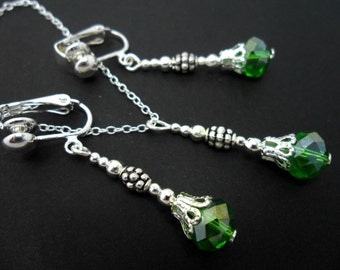 A hand made green crystal bead  necklace and  clip on earring set.