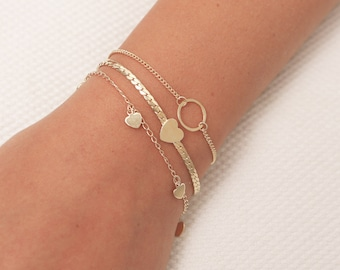 Heart Bracelet Tiny Gold or Silver Heart Bracelet Dainty Layered Friendship Bridesmaid Bracelet Everyday Gold Filled Jewelry