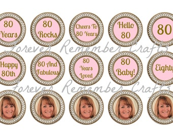 Peronalized 80th Birthday Party Photo  1 Inch Bottle Cap Image Sheets *Digital Image* 4x6 Sheet With 15 Images