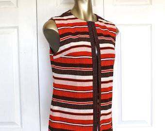 1960s Brown Orange Stripe Vest by R & K KNITS Vintage 60s Polyester Tunic Vest Top . Size Medium