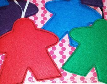 Felt Board Game Meeple Christmas Ornaments