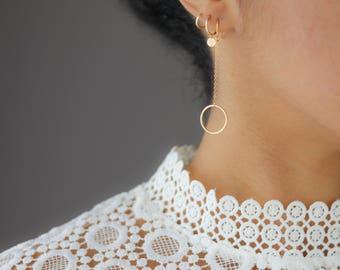 Gold Circle Earrings - Dangle Earrings - Gold Hoop Earrings - Minimalist Jewelry - Everyday Earrings - Bridesmaids Gift - Gift for Her