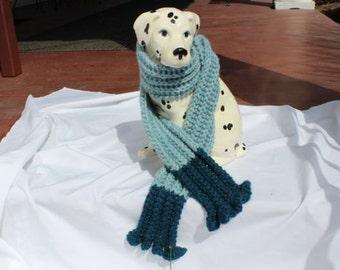 Two-Tone Blue Hand-Knit Ruffled Scarf in Soft Baby Alpaca Yarn