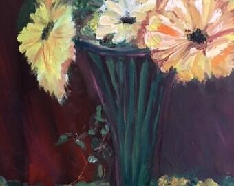 Sunnyside daisies - oil on canvas