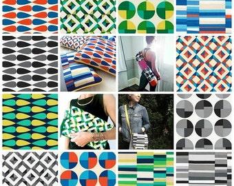Geo Pop Canvas 2 Fat Quarter Bundle Geometric fabric - 12 Prints from Robert Kaufman Fabric