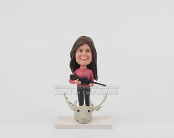 Custom hunter bobblehead - Birthday gift for her, Birthday gift to her, Woman Birthday Gifts, Birthday gift ideas for her