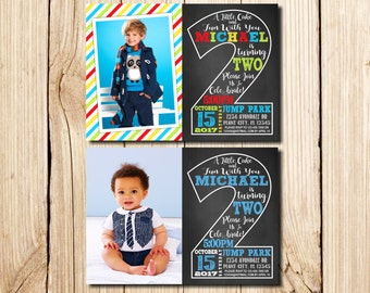 2nd Birthday Invitation, with Picture, Second Birthday Invitation, Boy, Сhalkboard, 2nd birthday invitations Boy, Little Man Birthday