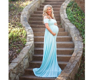 Maternity Dress For Photo Shoot Maternity Gown Baby Shower Dress Blue  Maternity Gown