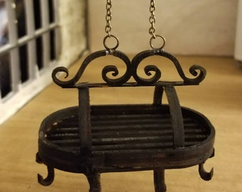Miniature dollhouse kitchen pot rack in wrought iron style 1:12 scale
