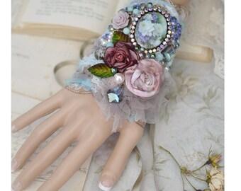 Shabby Roses Corsage Cuff Romantic Bracelet Rosebuds & Lilac