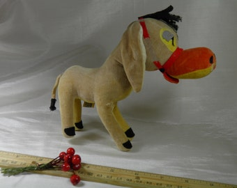 Vintage Donkey Dream Pets R. Dakin and Co -Stuffed Animal Plushy, Product of Japan- Burro Mule Plush Gold Brown with Halter - Vintage Cuddly