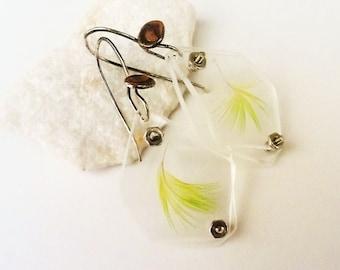 Green Parrot Feather Specimen Earrings