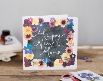 Happy New Home - Calligraphy and Floral Blackboard Style Card - New Home / Moving / Housewarming