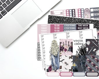 GAME OF THRONES full weekly kit | erin condren planner stickers | vertical eclp | full boxes, headers, to do, got | 130+ planner stickers