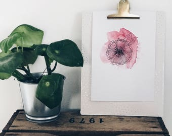 Watercolor flower print red