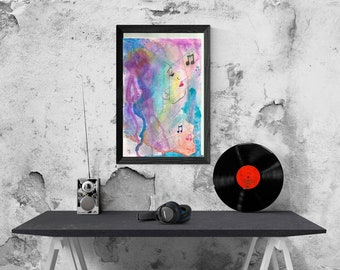 Music, fantasy, music fantasy, music watercolor, musical notes, musical notes paint, musical notes watercolor