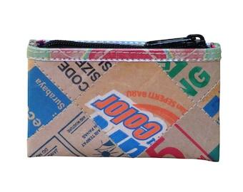 Zip coin purse using cardboard - FREE SHIPPING - Upcycled wallet, Thin wallet, vegan wallet, Credit Cards case, Vegan wallet