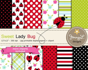 Spring Lady Bug Digital Papers and clipart, Summer Lady bug for Digital scrapbooking, invitations, birthday