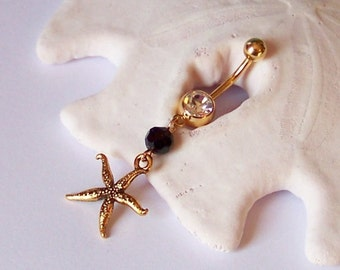Gold Belly Button Ring - Belly Button Jewelry - Gold Belly Ring - Gold Starfish Charm with Black Crystal